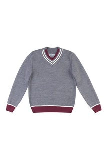 Серый пуловер с контрастными окантовками Jacote