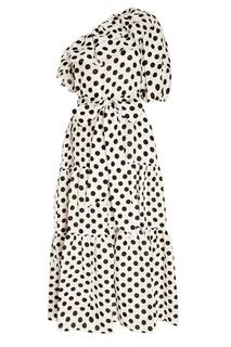 Платье в горошек с оборками Lisa Marie Fernandez