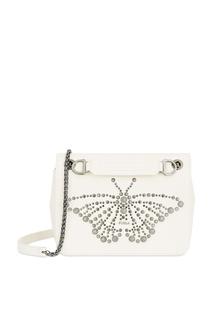 Белая сумка с серебристыми заклепками Deliziosa Furla