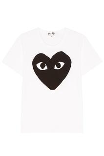 Белая футболка с черным сердцем Comme Des Garcons Play