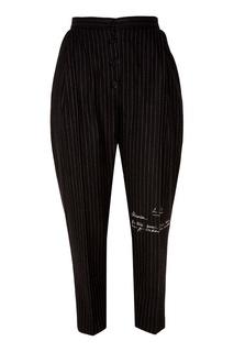 Черные брюки из шерсти в полоску Ruban