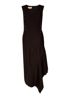 Черное шерстяное платье в полоску Ruban