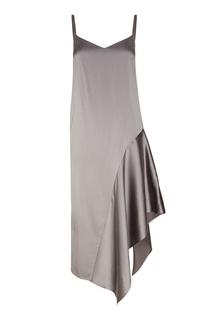 Серое платье-комбинация из шелка Ruban