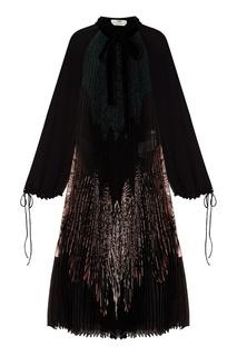 Платье из шелка с плиссировкой Fendi