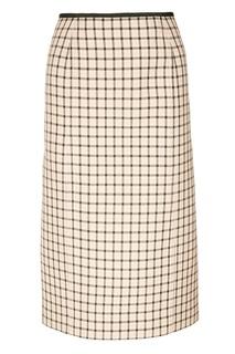 Шерстяная юбка в клетку Fendi