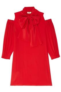 Красное платье с открытыми плечами Fendi