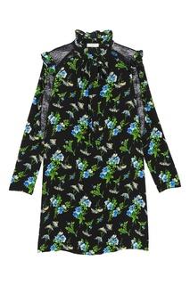 Шелковое платье с синими цветами Sandro