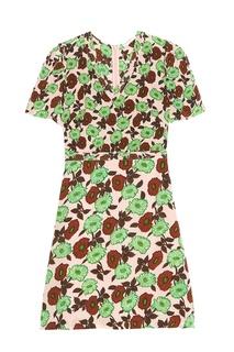 Шелковое платье с цветами Sandro