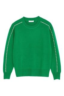 Зеленый джемпер с жемчужинами Sandro