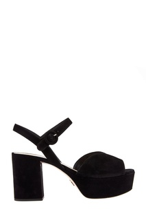 Черные замшевые босоножки Prada