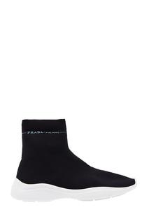 Текстильные ботинки с логотипом Prada