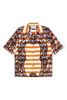 Рубашка в полоску с принтом Prada