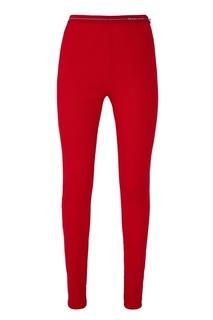 Красные трикотажные брюки с логотипом Prada