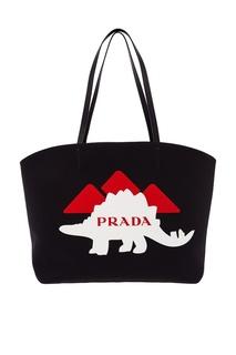 Черная сумка с принтом Prada