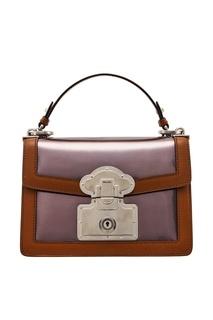 Кожаная сумка с отделкой Prada