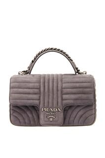 Серая замшевая сумка Diagramme Prada