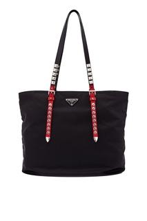 Текстильная сумка с заклепками Prada