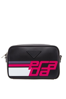 Черная кожаная сумка с принтом Prada