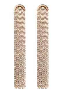 Золотистые серьги с цепочками Caviar Jewellery