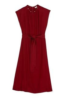 Бордовое платье с жемчужинами Sandro
