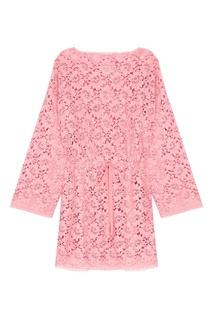Розовое кружевное платье Gucci