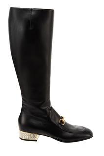 Черные кожаные сапоги Gucci