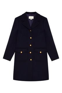 Синее пальто с золотистыми пуговицами Gucci
