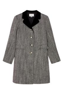 Серое пальто с контрастным воротником Gucci