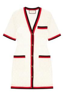 Ажурное платье с контрастной отделкой Gucci