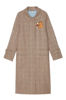 Пальто в клетку с аппликацией Gucci
