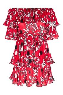 Плиссированное платье-мини с цветами Self Portrait