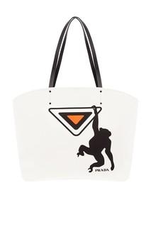 Текстильная сумка с принтом Prada