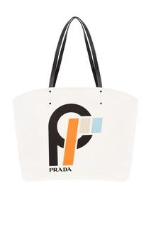 Белая текстильная сумка с принтом Prada