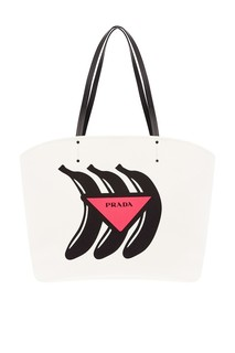 Белая сумка с принтом Prada