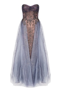 Серое платье с открытыми плечами Marchesa