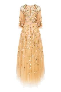 Бежевое платье с вышивкой и пайетками Marchesa