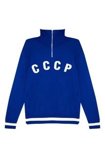 Синий свитер с принтом ОЛОВО