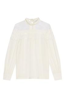 Белая блузка с кружевом Sandro