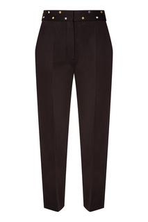 Черные брюки с поясом в горошек Sandro