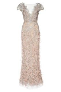 Серебристое платье с перьями Marchesa