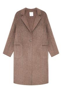 Бежевое пальто из овечьей шерсти Sandro