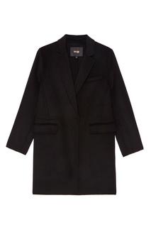 Черное пальто из шерстяного микса Maje