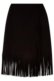 Черная мини-юбка с бахромой Msgm
