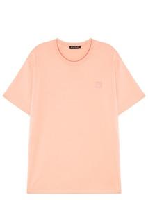Розовая хлопковая футболка Acne Studios