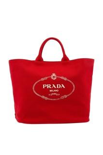 Красная текстильная сумка с логотипом Prada