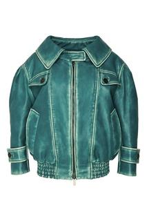 Бирюзовая кожаная куртка Miu Miu