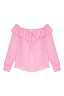 Розовая шелковая блузка Miu Miu