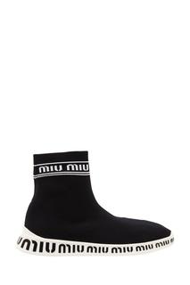 Тканевые кроссовки с контрастной отделкой Miu Miu