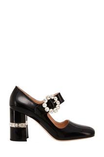 Лакированные черные туфли с отделкой Miu Miu