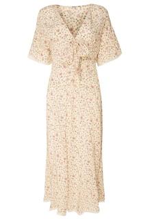 Шелковое платье с цветочным принтом Miu Miu